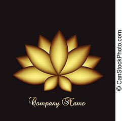 Logo lotus flower - Golden lotus yoga meditation symbol logo...