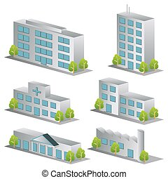 3d building icons set