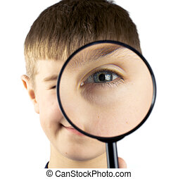 Kid using magnifying glass isolated on white background