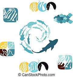 Set of fishy icons 01 - Set of various fish and related...