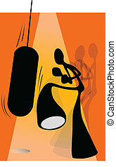 shadow man boxing - Illustration shadow man cartoon kicking...