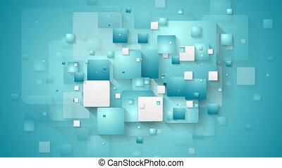 Abstract blue tech geometric squares video animation
