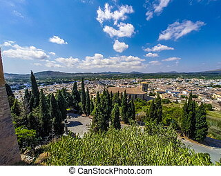 View over the roofs of the old town of Arta, Majorca, Spain,...