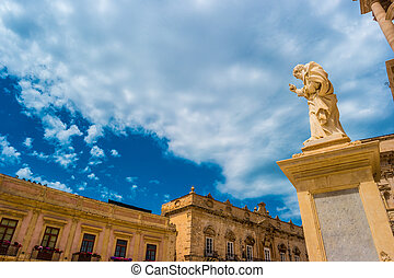 Piazza Duomo and Cathedral in Syracuse. Travel photo.