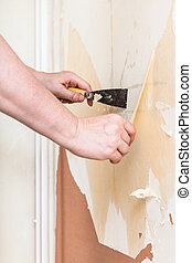 Removing of old wallpaper from wall with spatula -...
