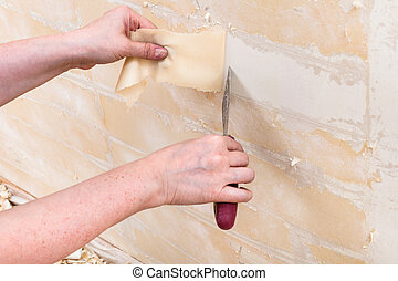 removing backing from the wall before wallpapering -...