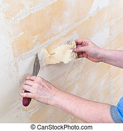 cleaning wall from backing before wallpapering - renovation...