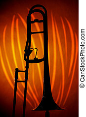 Trombone In Silhouette on Orange - A professional trombone...