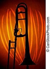 trombón, en, silueta, naranja