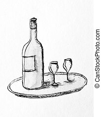 wine - pencil drawing of a wine bottle and two glasses