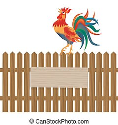 A fence made of wood. Notice boards and advertising. Rooster on the fence. Symbol Rooster 2017. illustration