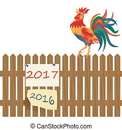 A fence made of wood. Rooster on the fence. Rooster symbol 2017 illustration