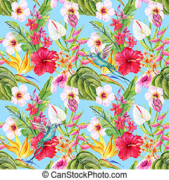 Watercolor tropical floral pattern - Beautiful pattern with...