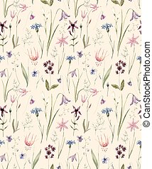 Watercolor wild flowers pattern - Beautiful pattern with...