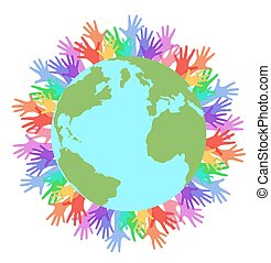 Vector flat illustration planet earth and rainbow hands of people