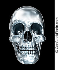 Metallic human skull over black , 3D illustration