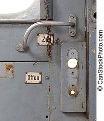 Vintage door on the train compartment