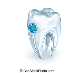 Tooth with blue diamond, over white . 3D illustration