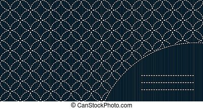 Simple sashiko ornament with copy space for text.