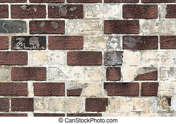 old brick wall - uneven and shabby old brick wall texture...