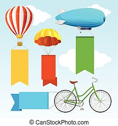 Airship Transport Banners Vector - Airship Transport Banners...