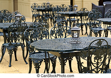 Outdoor restaurant, chairs and tables