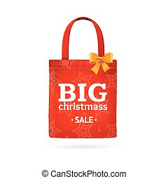 Christmass Sale Fabric Cloth Bag Tote. Vector - Christmass...