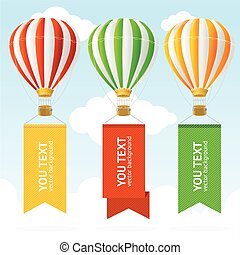 Hot Air Balloon Banner. Vector