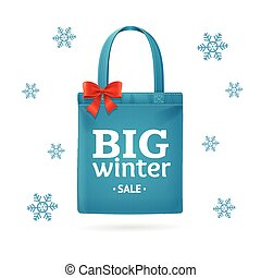 Winter Big Sale Fabric Cloth Bag Tote. Vector - Winter Big...