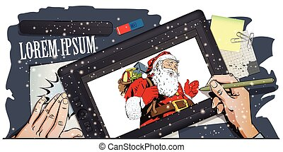 Santa Claus with a bag full of presents. Hand paints...