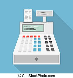Cash Register Icon - Cash register flat icon isolated on...