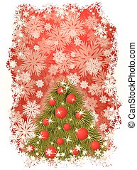 New Year card with Christmas tree,