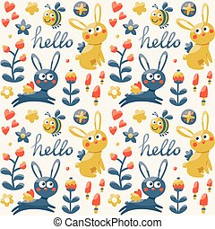 Seamless cute pattern made with fox, rabbit, hare, flowers, animals, plants, hearts, hello for kid