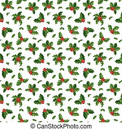 Christmas berry decoration seamless pattern - Merry...