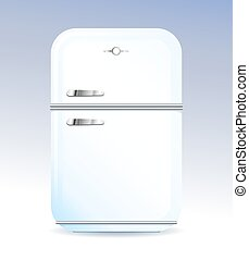 Retro style domestic fridge vector illustration - White...