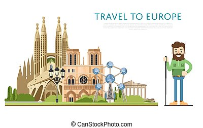 Travel to Europ banner with famous attractions