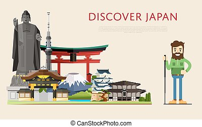 Discover Japan banner with famous attractions.