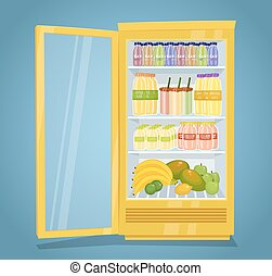 Refrigerator Full of Raw Fruit Products Vector