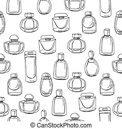 Seamless pattern with different bottles of woman perfume. Contour, black and white. Endless texture for fashion design,wrappings,fabrics.