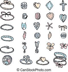 Set with stylized rings, beads  and charms for young woman. Objects isolated on white.  Black contour, white background, pink,blue and yellow color.
