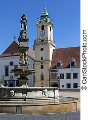 Bratislava Old Town - Slovakia - Fountains and the Old Town...