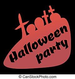 Silhouette gravestones, design element, logo for Halloween