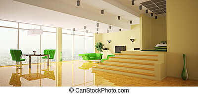 Apartment interior panorama 3d - Modern apartment with...