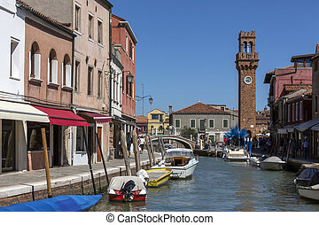 Island of Murano - Venice - Italy - Small canal on the...