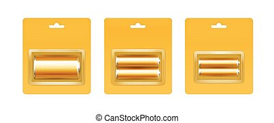 Vector Set of Golden Glossy Alkaline AA, AAA, C Batteries in Yellow Blister Packed for branding Close up Isolated on White Background