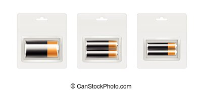 Vector Set of Black Yellow Golden Glossy Alkaline AA, AAA, C Batteries in Transparent Blister Packed for branding Close up Isolated on White Background