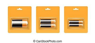 Vector Set of Black Yellow Golden Glossy Alkaline AA, AAA, C...
