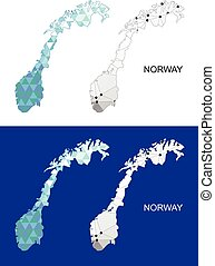 Norway map in geometric polygonal.