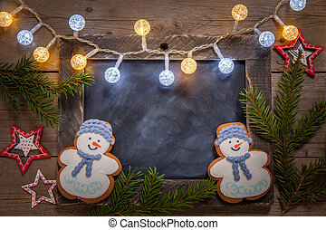 Christmas decoration with chalkboard and gingerbread snowman...