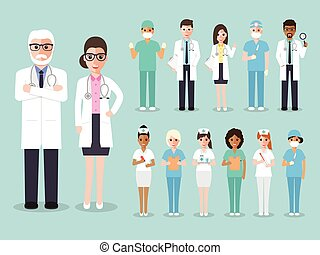Doctor, medical and hospital staff team characters - Group...